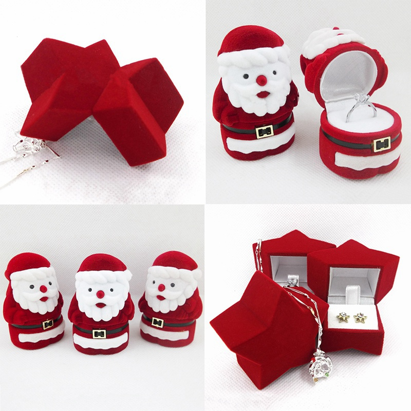 Fashion Cute Ring Earring Necklace Jewelry Box Flannel Valentine Gift Box Santa Claus Cute