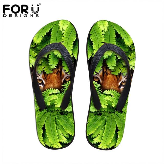 247ca4b2d9a1 FORUDESIGNS 2018 Flip Flops For Men Brand Design Summer Beach Sandals 3D  Animals Tiger Face Slippers Casual Male Shoes Footwear