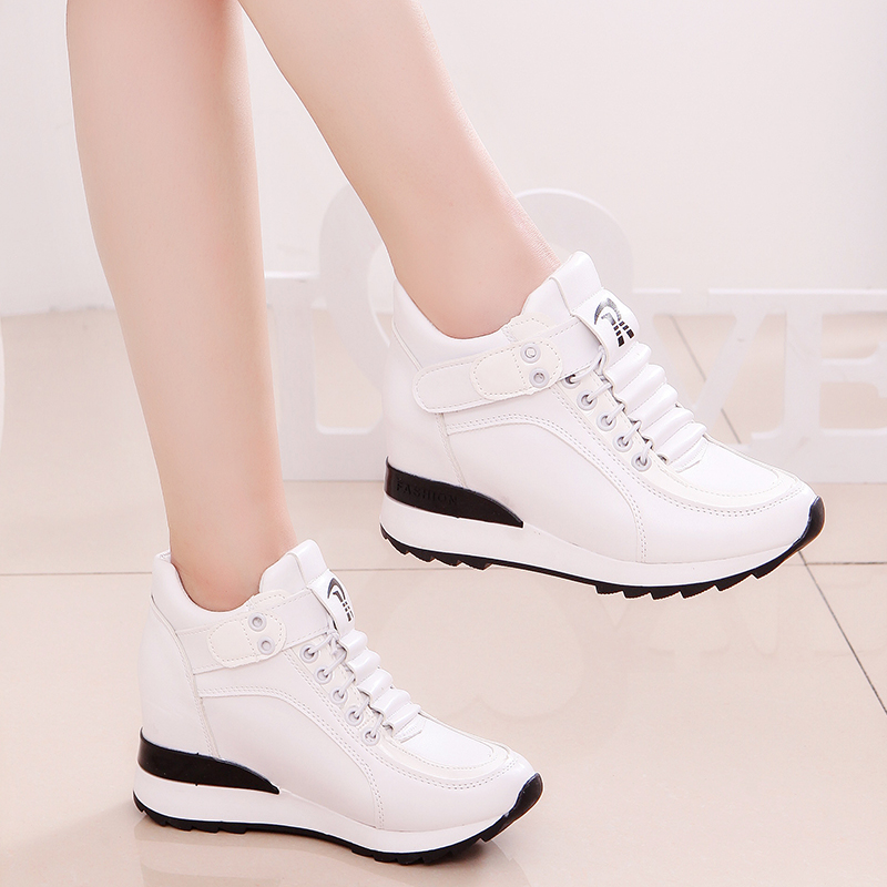 Fashion Women High Platform Shoes 7cm Height Increasing Ladies Sneakers Spring Trainers Pu Leather Breathable Casual