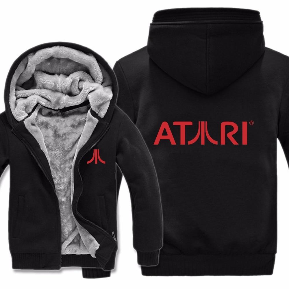 Winter Men Casual Wool Liner Fleece Atari Video Game Sweatshirts Pullover Man Coat Atari Hoodies Jacket