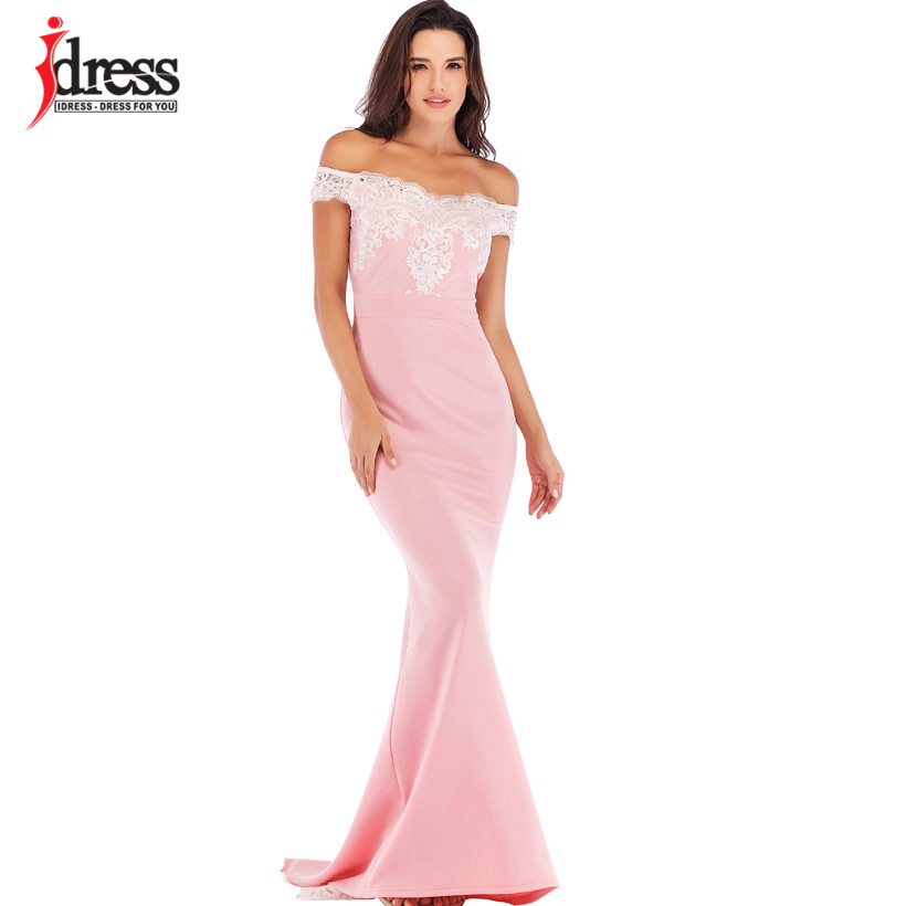 c8372eede4 IDress 2019 Runway Women Red Pink Black Lace Bodycon Mermaid Maxi Dress Off  Shoulder Elegant Summer Long Dress for Evening Party