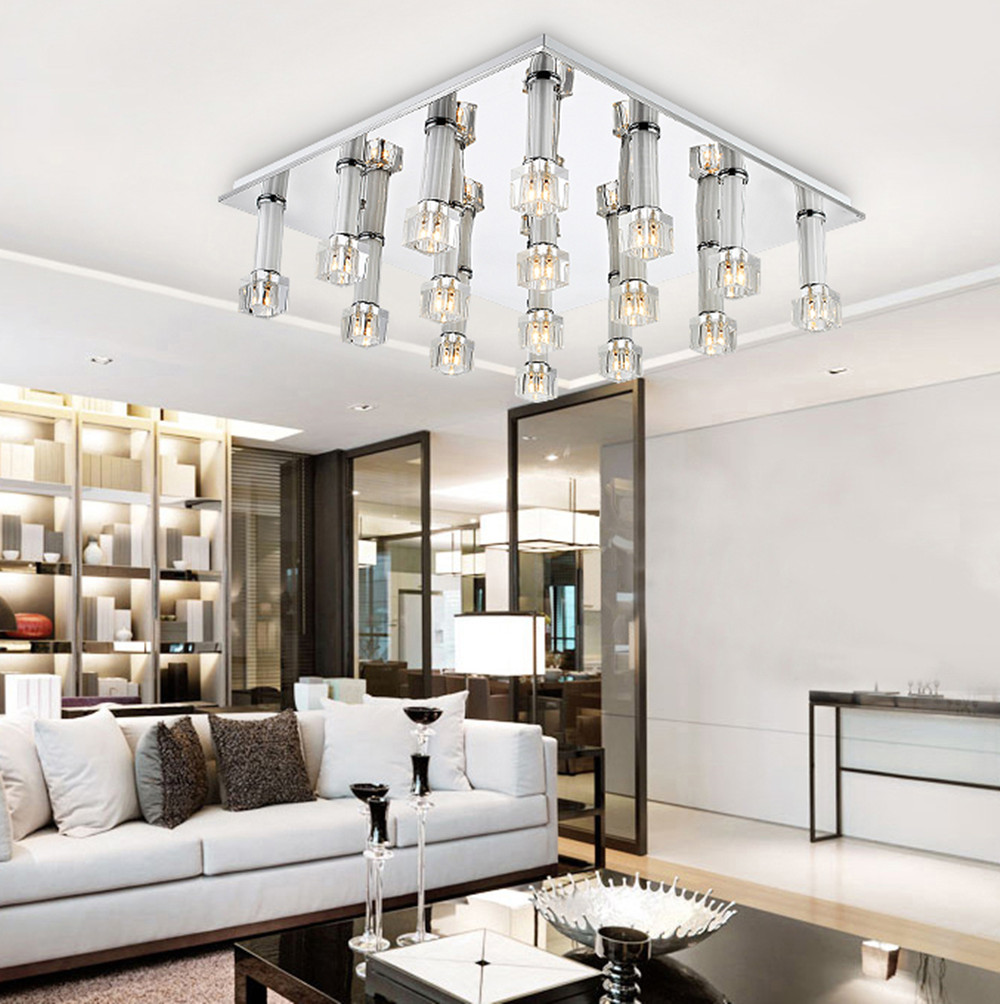 LED crystal lamp aisle glass ceiling lamp square living room bedroom ...