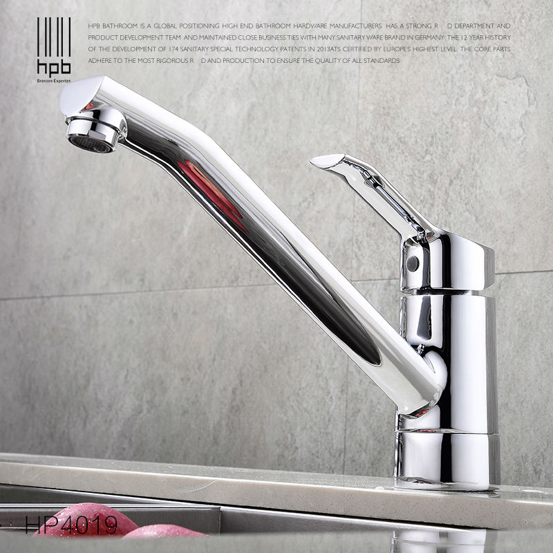 HPB Brass Hot and Cold Water Kitchen Faucet Deck Mounted Sink Torneira de Cozinha Mixer Tap HP4019 jooe kitchen faucet chrome single cold water tap deck mounted kitchen sink faucet torneira de cozinha robinet cuisine banheiro