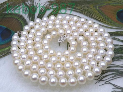 noble women gift Jewelry Silver Clasp Natural 6.5-7mm AAAA+ round white akoya pearl necklace noble women gift 48INCH long hyperset noble hs6012
