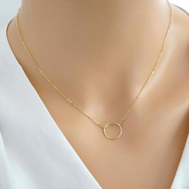 ff51f7c880 Gold Chain Necklace For Women Round Delicate Minimalist Tiny Circle  Necklaces Pendant Simple Jewelry Kolye Bijoux Femme
