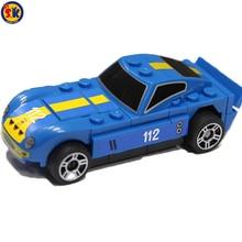 Фотография SK DIY Promotion Blue Pull Back Car Plastic Building Blocks Kids Cheap Blue Car Bricks Toys