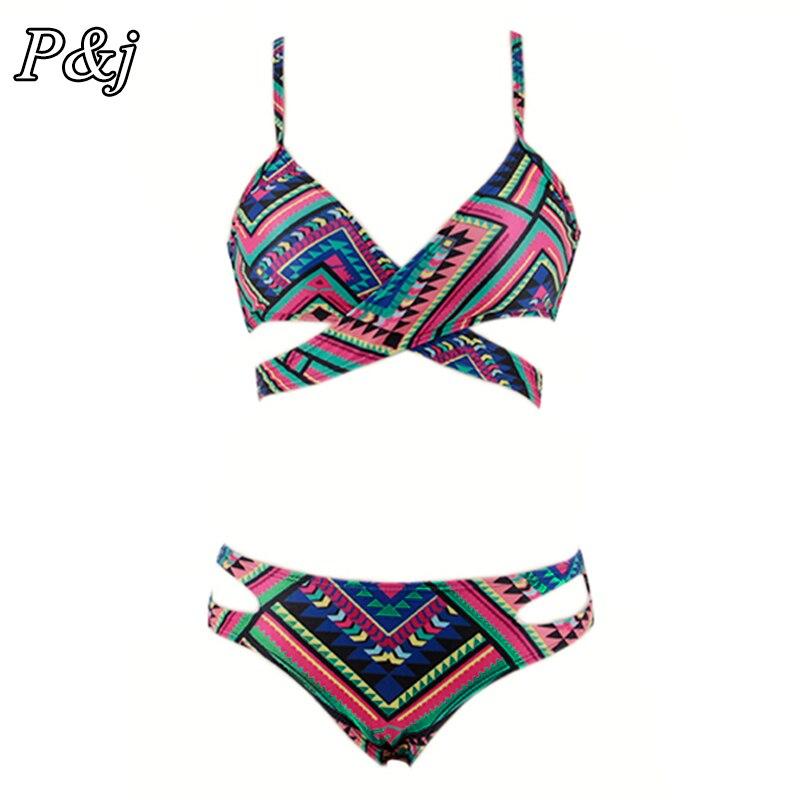 P&j 2017 Push Up Bikinis Cut Out New Bandage Design Swimsuit Bathing Suit Grometric Low Waist Bikini Set Swimwear Women Biquini