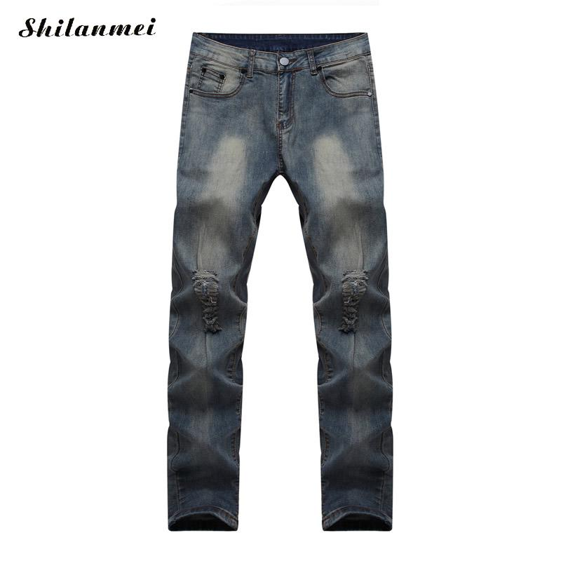 Brand Mens Jeans Straight Ripped Jeans For Men 2016 Zipper Fly Denim  man Jeans Men Fashion Designer Pants Dark Blue jean homme famous brand mens jeans straight ripped biker jeans for men zipper denim overalls men fashion designer pants blue jeans homme