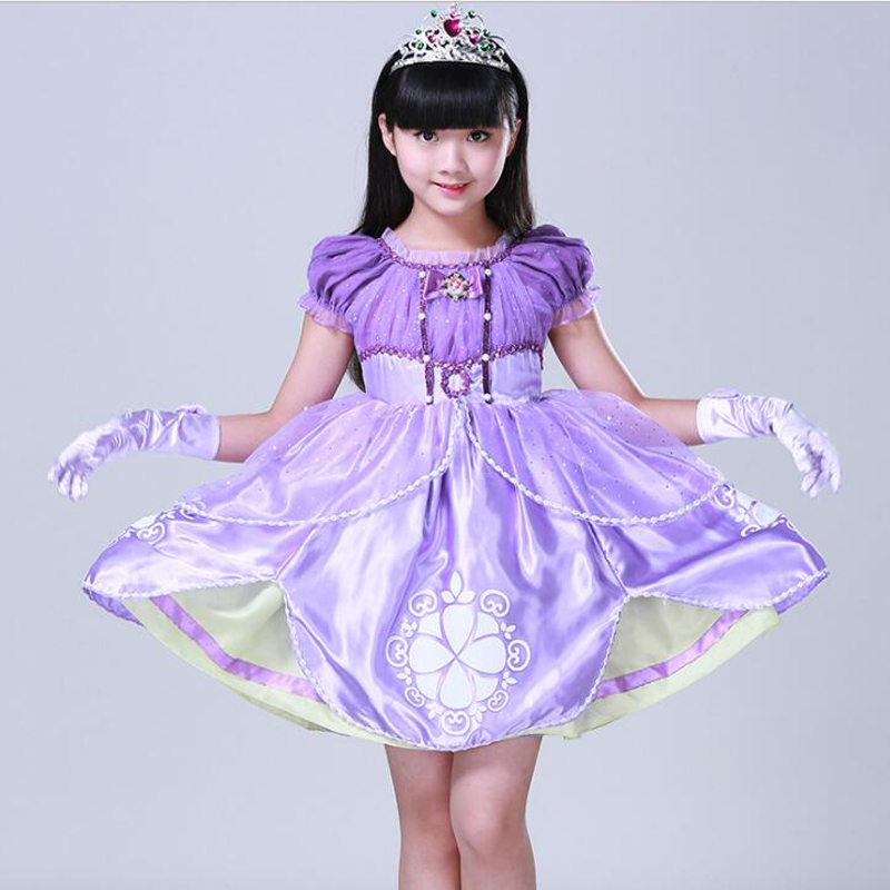 2017 Girl Princess Dresses Children Clothing High Quality Sofia Princess Cosplay Costume Kid's Party Dress Baby Girls Clothes stainless steel full window with center pillar decoration trim car accessories for hyundai ix35 2013 2014 2015 24