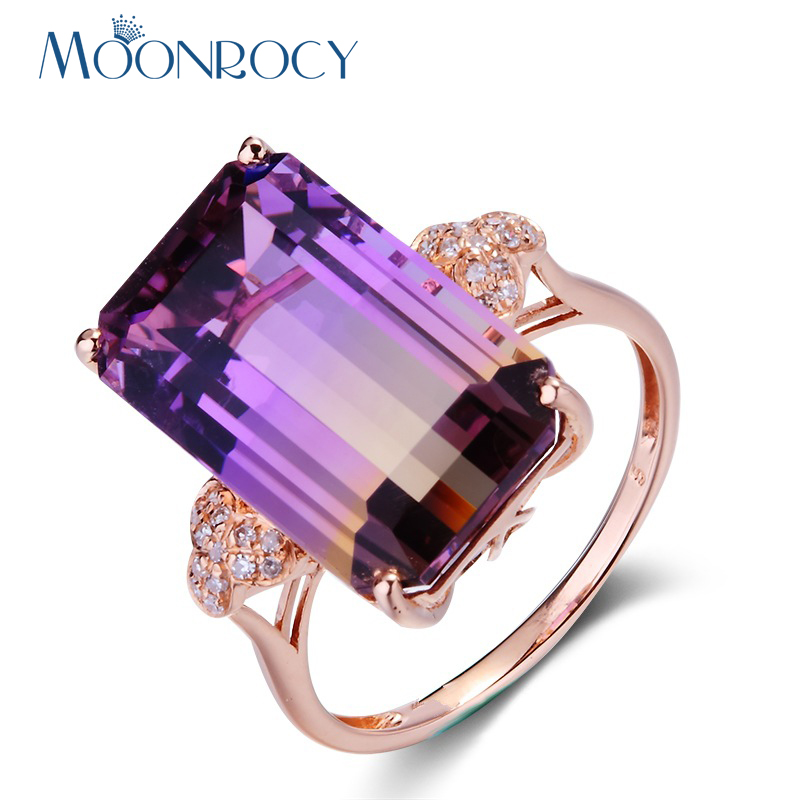 MOONROCY Drop Shipping Jewelry Square Rose Gold Color Cubic Zirconia Party Colourful Crystal Ring for Women Girls Gift