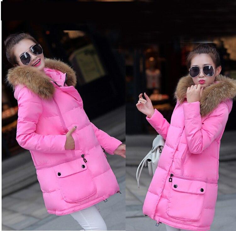 2016 Kış ceket kadınlar Kalınlaşmak Sıcak Kürk Yaka Artı Boyutu Parkas yeni kadın Uzun Kadınlar Aşağı Parka Büyük Kürk Hoodies için Ceketler