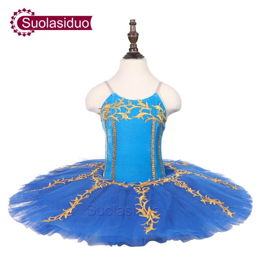 Children Blue  Professional Ballet Tutu Kids Stage Performance Competition Costumes Girls Classical Skirt Apperal