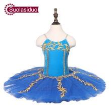 Children Blue Professional Ballet Tutu Kids Stage Ballet Performance Competition Costumes Girls Classical Ballet Skirt Apperal