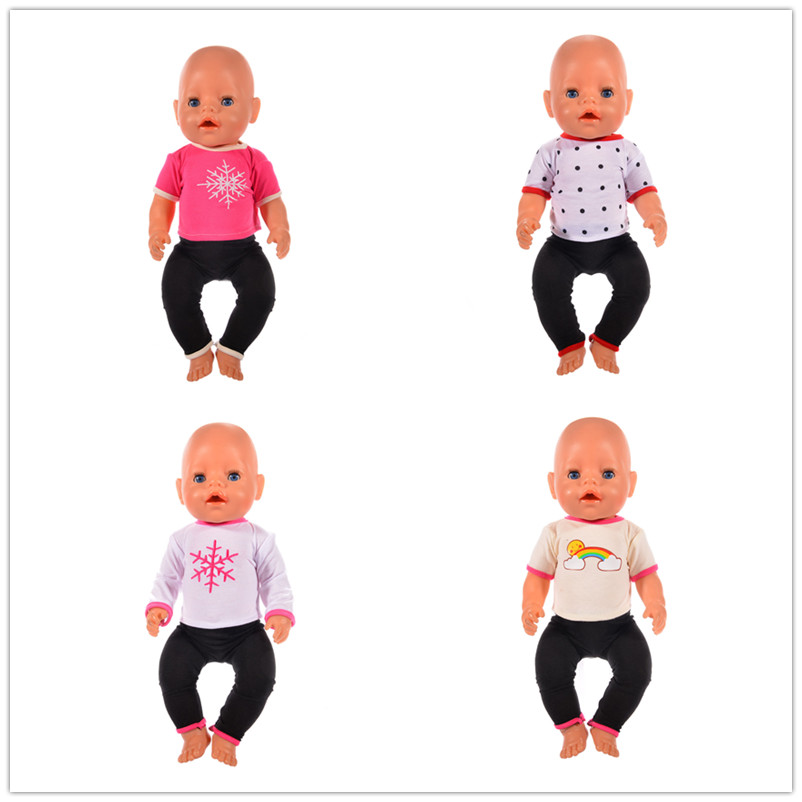 High-quality 4color Fashion suit Doll Clothes Wear fit 43 cm Baby Born zapf, Children best Birthday Gift (Only clothes) 2color choose leisure dress doll clothes wear fit 43cm baby born zapf children best birthday gift only sell clothes