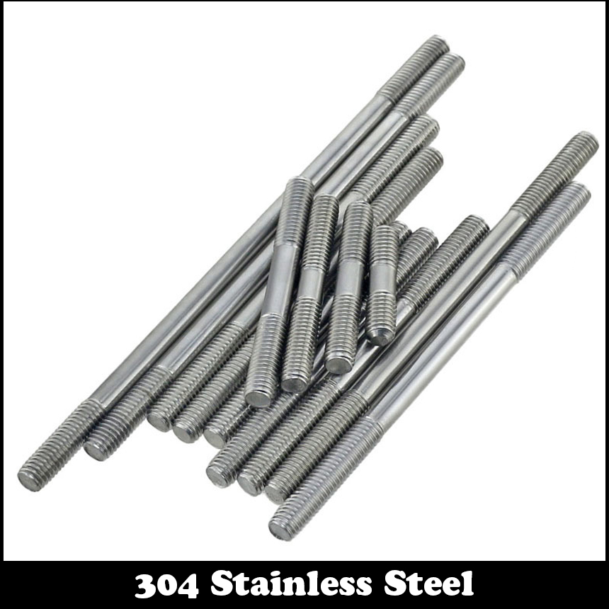 5pcs M10 30mm M10*30mm (Thread Length 12mm) 304 Stainless Steel Dual Head Screw Rod Double End Screw Hanger Blot Stud