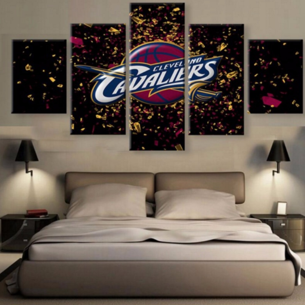 Framed 5 Pcs Modular Home Decor Wall Art Cleveland Cavaliers Canvas Wall Art Picture Home Decoration Living Room Canvas Painting