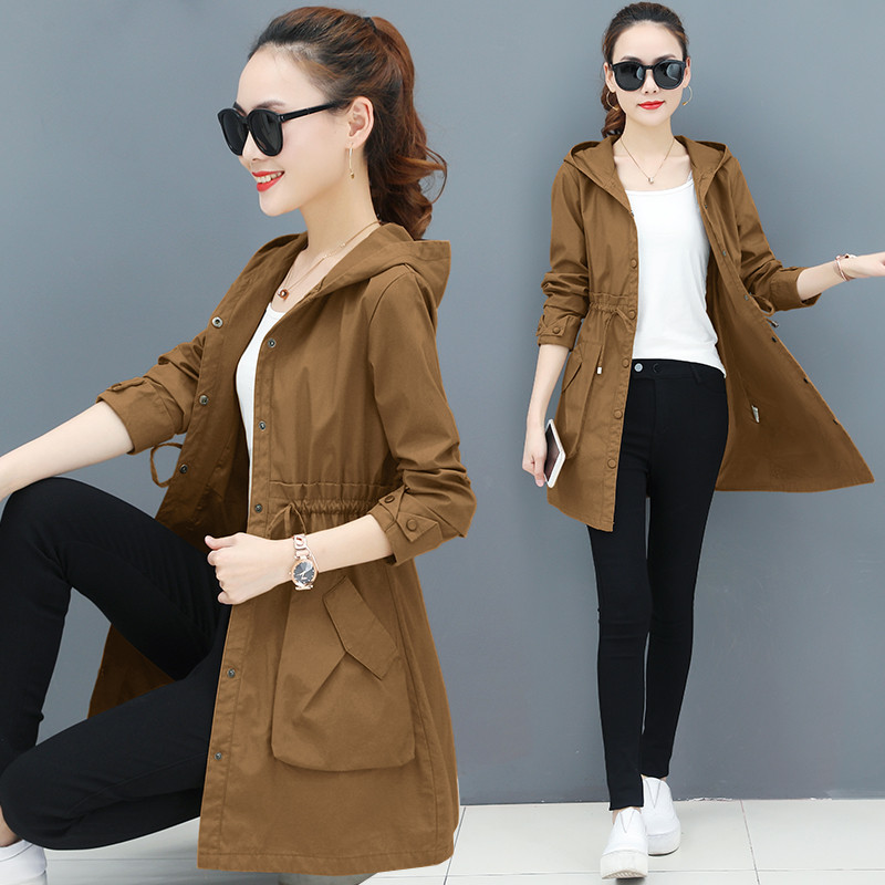 2020 Autumn Thin Trench Coat Women Spring Causal Long Sleeve With Hood Medium Long Outerwear Female Windbreaker Casaco Feminino