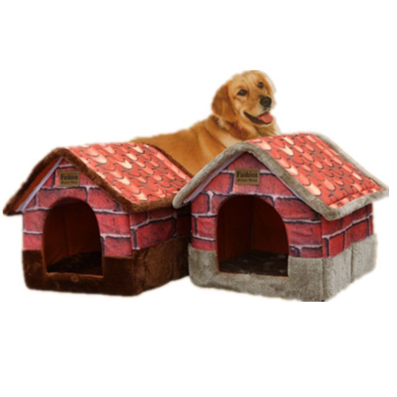 القط سرير دافئ لينة ل كلب صغير كبير كبير الفاخرة كلب بيت الكلب القط مع مدخنة دمية 170401-26