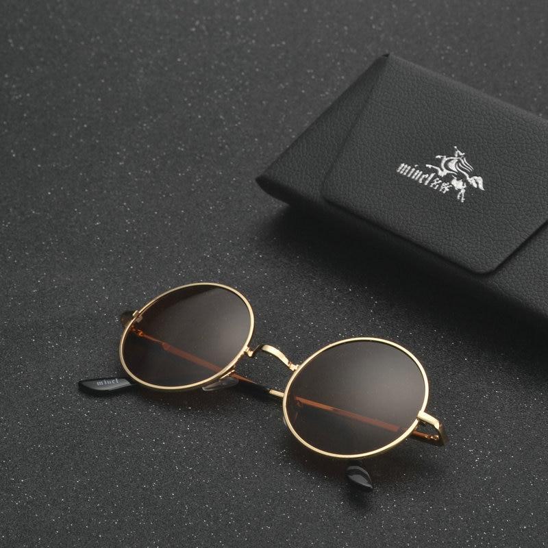 MINCL/ punk Polarized Sunglasses Men Women Retro Brand Designer Small Round Alloy Frame Summer Style Unisex Sun Glasses LXL 4