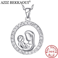 AZIZ BEKKAOUI Maternal Love Round Pendant Fit Necklace 925 Sterling Silver Mom Baby Shape Pendants For