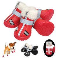 Warm Pet Scarpe Inverno Impermeabile Pet Dog Stivali Scarpe Da Pioggia Stivaletti Da Neve Riflettente Antiscivolo Calzature Per Le Piccole Cani di Taglia Grande