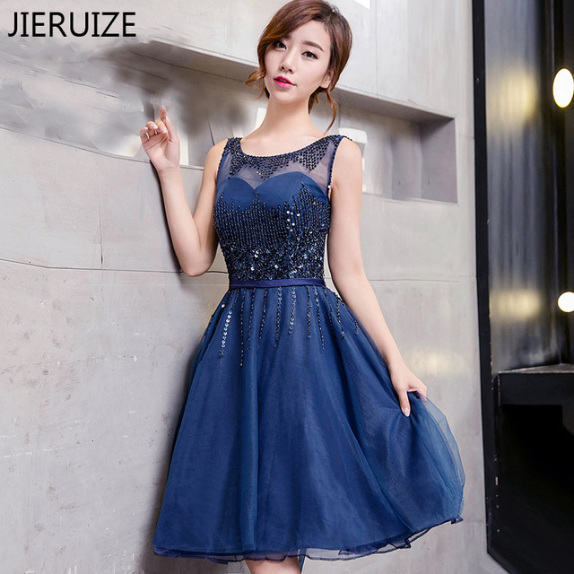 JIERUIZE Dark Navy Blue Beaded Short Prom Dresses 2017 Lace Up Back ...
