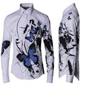 Chemise Homme Fashion China Ink Butterfly Printing Men Shirts Brand New Male Slim Fit Long Sleeve Shirt Mens Cotton Shirts