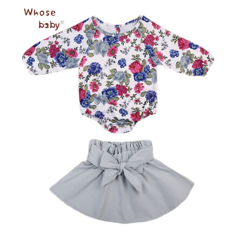 2pcs Baby Girl Clothes Sets Spring Flower Kids Set Newborn Bodysuit+Bow Skirt Clothes For Girls Infant Long Sleeves Clothing Set 2016 brand new high quality fashion girls clothing sets bow hoodies flower mini tutu skirt 2pcs autumn spring baby kids clothes