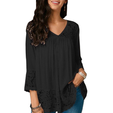 Women V-neck Lace Splicing Hollow-out 3/4 Sleeve Loose Shirt Casual Button Up Tops Long Sleeve Loose T-Shirt все цены