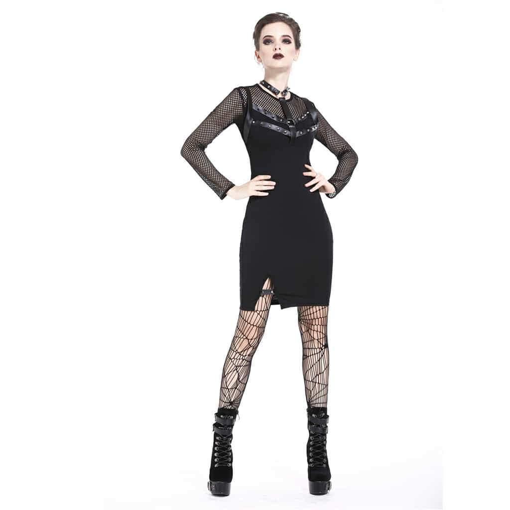 Darkinlove robe courte noire en résille pour femme DW204