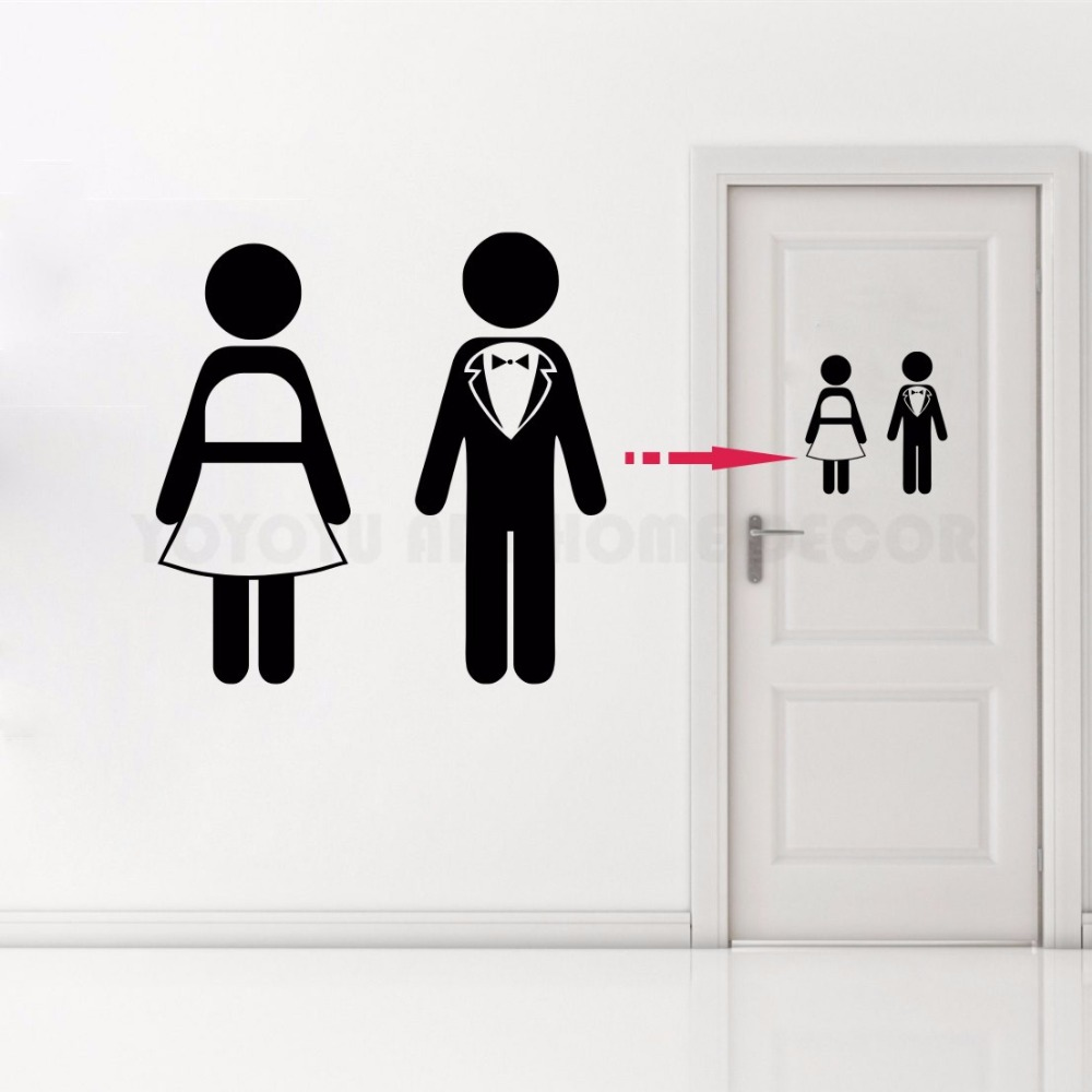 Toilet Sign Bathroom Restroom Door Decal, WC Vinyl Sticker Toilet Women and Man Home Decoration Door Stickers AY1176