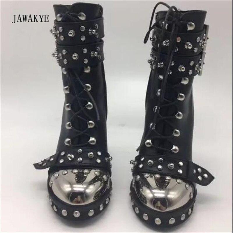Mujeres Redonda Tacón Zapatos Botines Punta Botas Negro Mujer Moda Remache Alto Martin Punk Metal Hebilla 2017 Cuero De 8B6BR