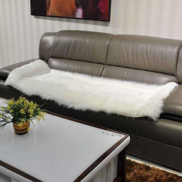 Long Faux Fur Artificial Skin Rectangle Fluffy Chair Seat Sofa Cover Carpet  Mat Area Rug Living