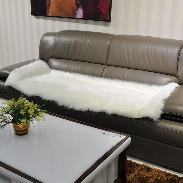 Long Faux Fur Artificial Skin Rectangle Fluffy Chair Seat