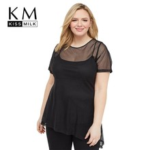 Kissmilk Plus Size Women Clothes Shoulder Hollow Mesh Perspective Hem Asymmetric Mesh Short Sleeve недорого