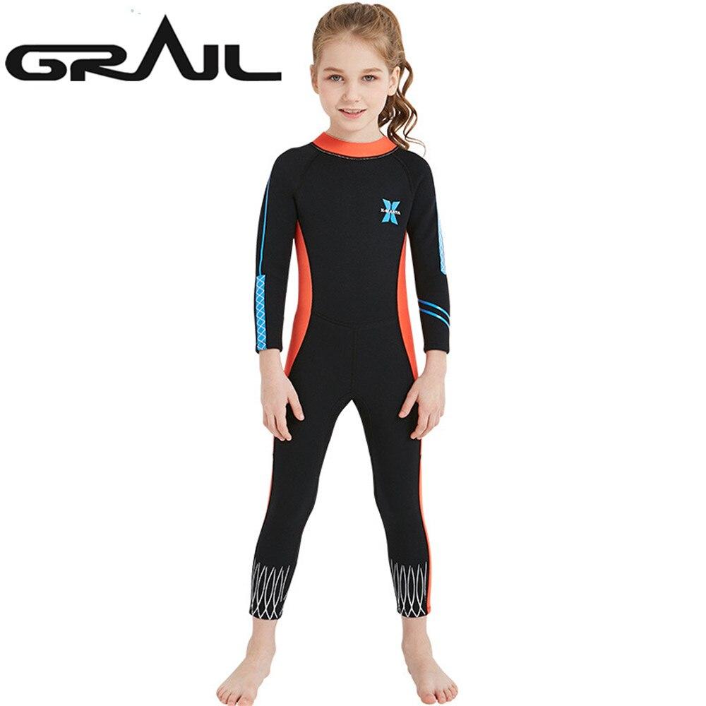 2.5 MM enfants néoprène peau de requin combinaisons de plongée fille mignonne combinaisons de surf maillot de bain corps complet natation néoprène éruptions cutanées WS-18819