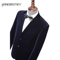 Синий вельветовый мужской костюм для свадьбы для мужчин Блейзер 2 шт. смокинг жениха для вечерние выпускного вечера мужской костюм куртка +