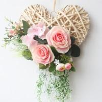 Rattan Heart shape Rose garland door decoration wedding flower silk wreath wall decoration
