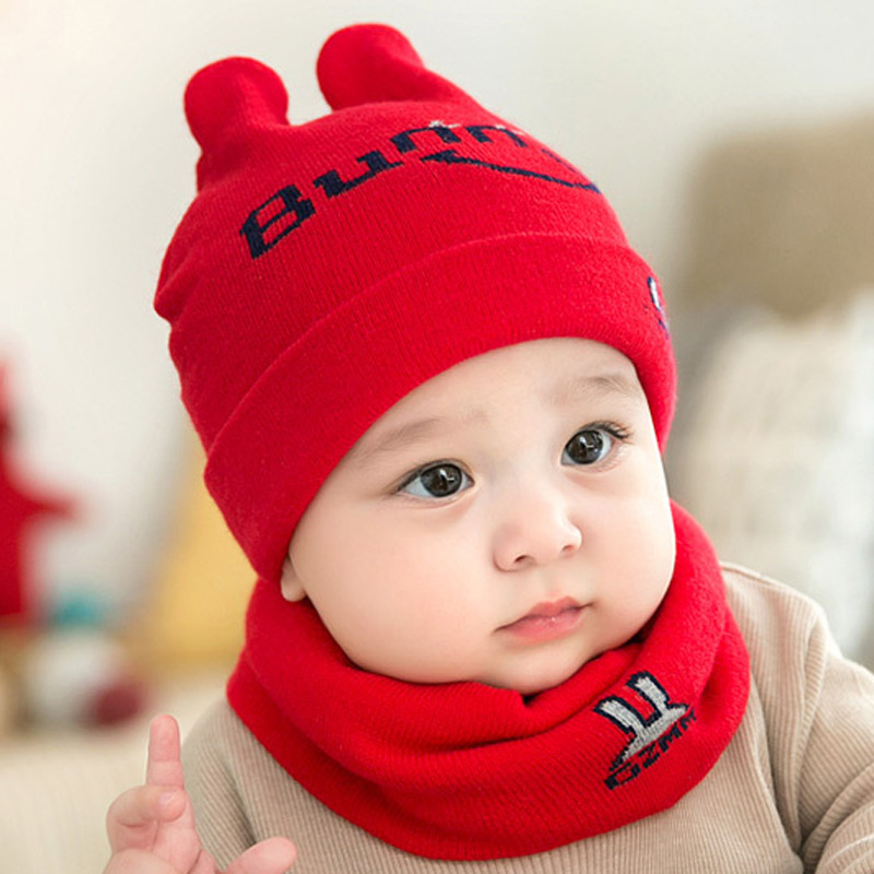 Letter Crochet Baby Winter Hat Scarf Set 2pcs Cotton Infant Kids Knit Hat Scarf-collar Set Girls Boys Winter Beanie