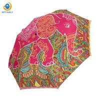 Tribal Floral Pattern Colorful Elephant Unique Personalized Custom Foldable Umbrella Rain Women Windproof Umbrella Automatic