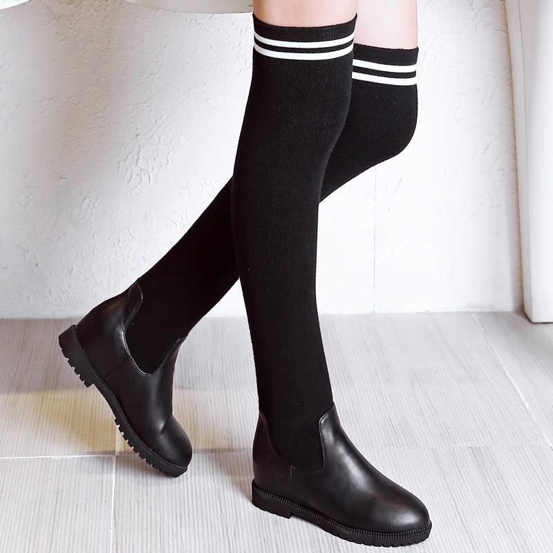 WETKISS Streç Diz Çizmeler Üzerinde Kadın Yuvarlak Ayak Ayakkabı Çorap Kadın Çizme Asansör Platformu Örme Ayakkabı Kadın Kış 2018