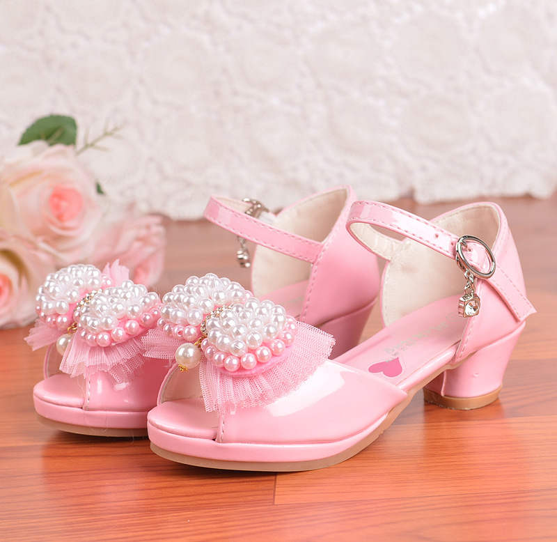 New childrens high heels 2018 summer girls sandals string Jane bow princess shoes large  ...