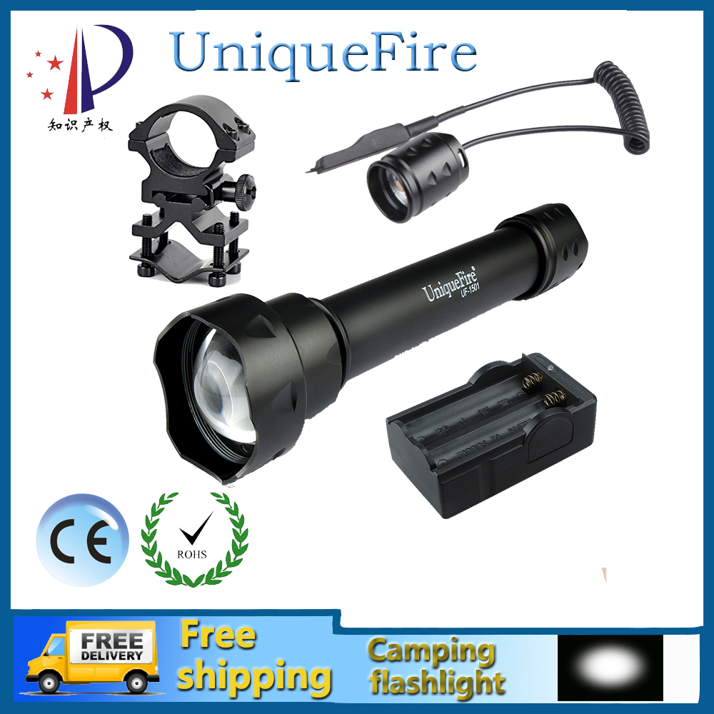 Uniquefire 1501 XP-E LED Flashlight Waterproof Zoomable 3 Modes LED Hand Light + Rat Tail + Gun Mount + Two Slot Charger