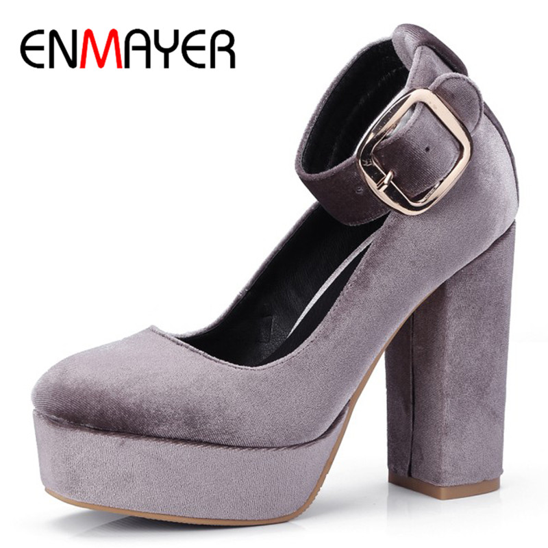 ENMAYER Ankle Strap Shoes Woman High Heels Office Ladies Pumps Shoes Classic Black Plus Size 34-42 Causal Shoe