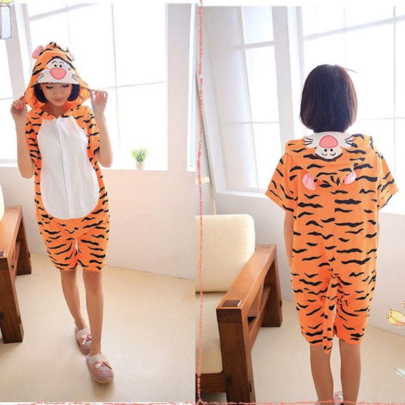 Cute Tiger Adult Short Sleeve Animal Pajamas Summer Unisex Cosplay Pijamas Cartoon Cotton Onesies men women Pajama