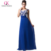2015Vintage Retro Floor Length Lace Royal Blue Chiffon Long Evening Dresses Hollowed Back Formal Prom Gown
