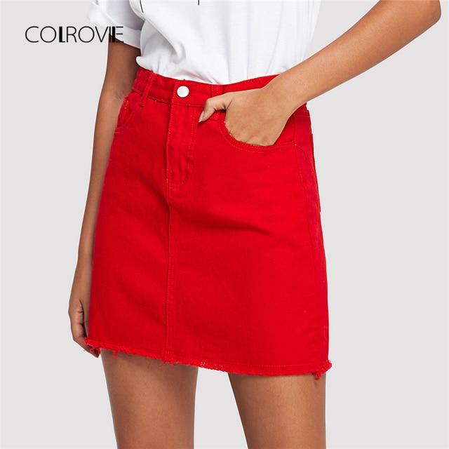 COLROVIE Frayed Hem Pockets Denim Skirt Spring Red Ripped Mid Waist Girly Casual Mini Skirt Summer A Line Basic Women Skirt