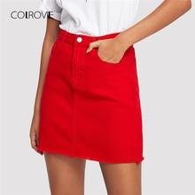 COLROVIE 擦り切れ裾ポケットデニムスカート春赤リッピングミッドウエストガーリーカジュアルミニスカート夏ラインの基本的な女性スカート