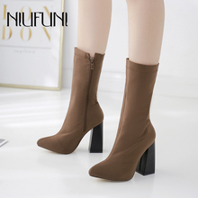 Mid-Calf Sock Boots High Heels Elastic Pointy Toe Women Shoes Sexy Party Ladies Comfort Solid Color Zipper NIUFUNI