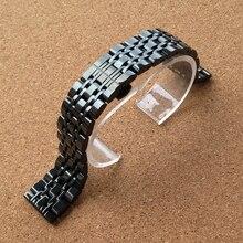 Promoción pulido correa de acero inoxidable doble click hebilla negro 22 mm de metal pulsera band AR5890 / 0386 / 0389 / 1648